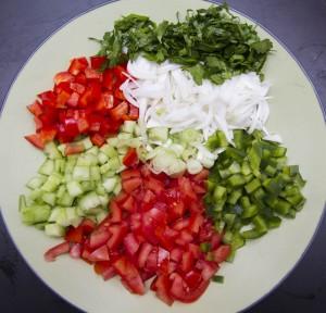 preparation slata jida crudites